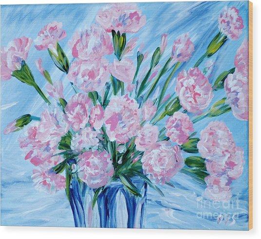 Bouguet Of Carnations.  Joyful Gift. Thank You Collection Wood Print