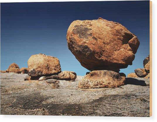 Boulder On Solid Rock Wood Print