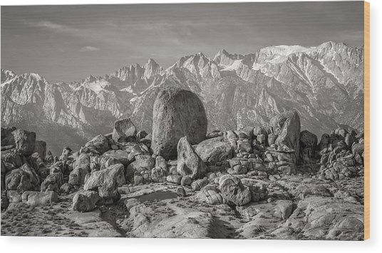 Boulders And Mountains - Sierra Nevada Wood Print by Joseph Smith