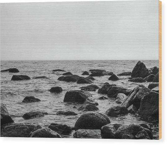 Boulders In The Ocean Wood Print