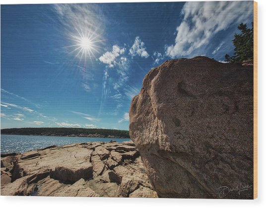 Wood Print featuring the photograph Boulders Meet Ocean by David A Lane