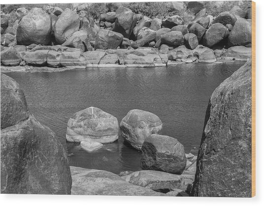 Wood Print featuring the photograph Boulders Of Tungabhadra, Hampi, 2017 by Hitendra SINKAR
