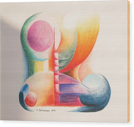 Boulets Wood Print by Muriel Dolemieux