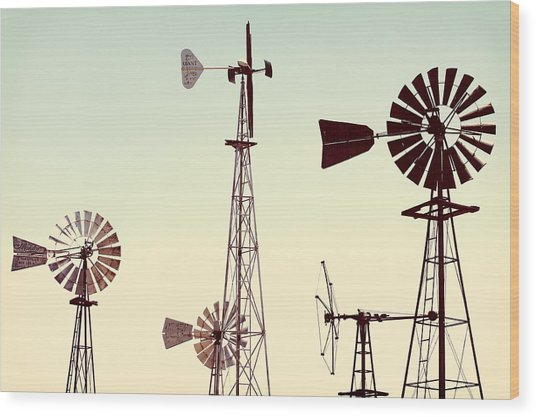 Bountiful Windmills Wood Print