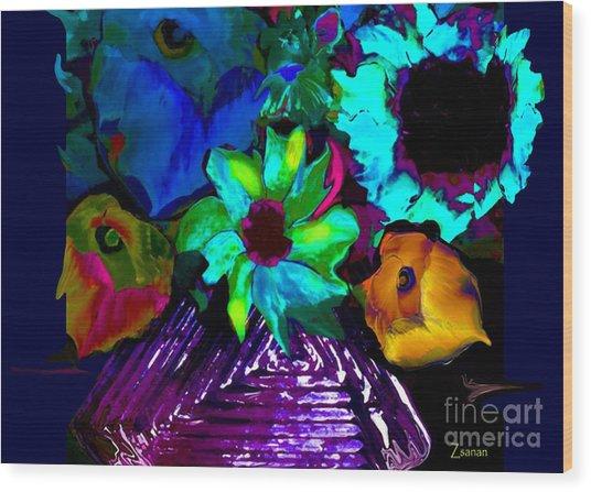 Bouquet In Fauve Wood Print