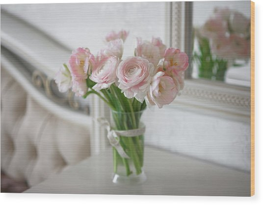 Bouquet Of Delicate Ranunculus And Tulips In Interior Wood Print