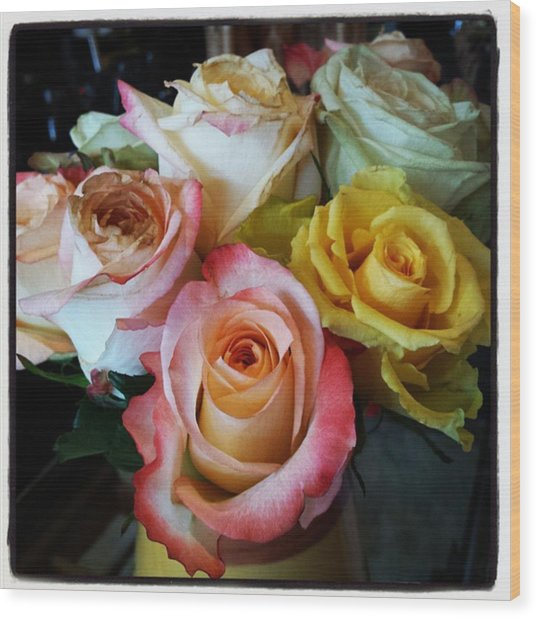 Wood Print featuring the photograph Bouquet Of Mature Roses At The Counter by Mr Photojimsf