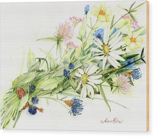 Bouquet Of Wildflowers Wood Print
