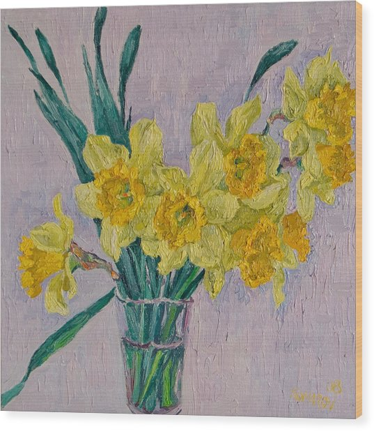 Bouquet Of Yellow Daffodils Wood Print by Vitali Komarov