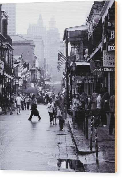 Bourbon Street In The Rain Wood Print