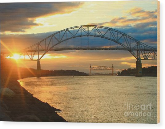 Bourne Bridge Sunset Wood Print