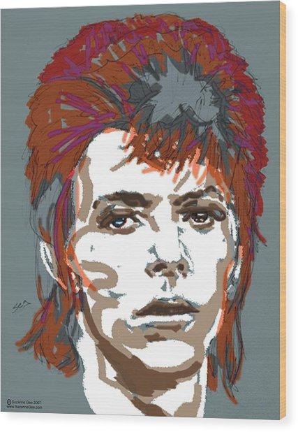 Bowie As Ziggy Wood Print