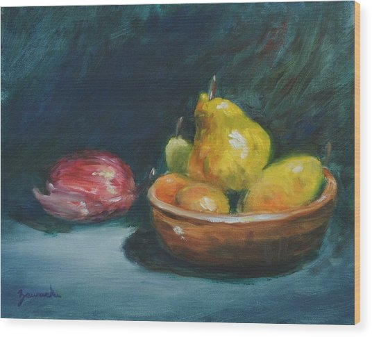 Bowl Of Fruit By Alan Zawacki Wood Print