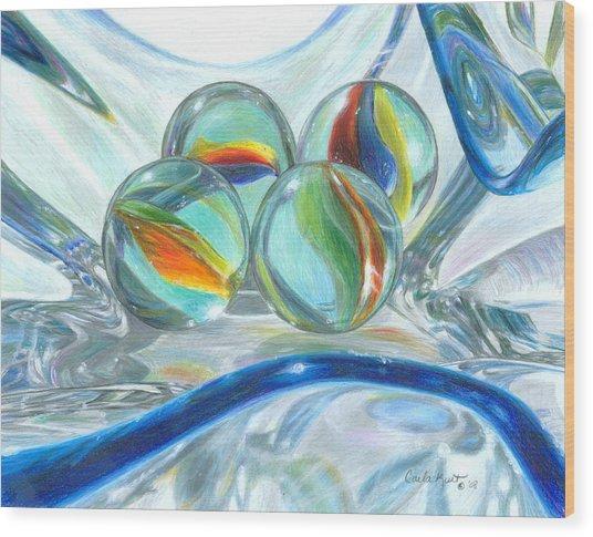 Bowl Of Marbles Wood Print