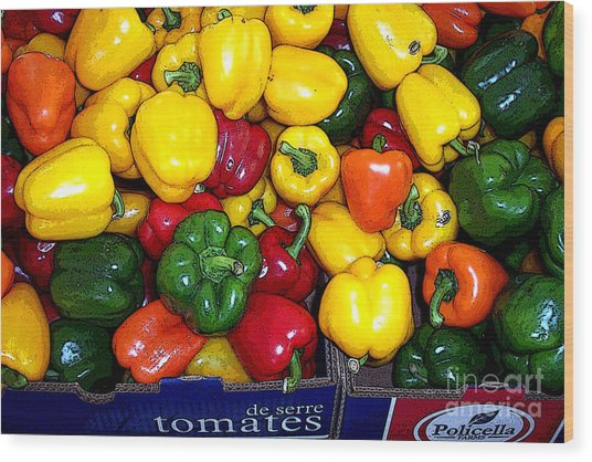 Box Of Peppers Wood Print