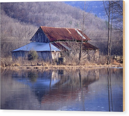 Boxely Barn Reflection Wood Print