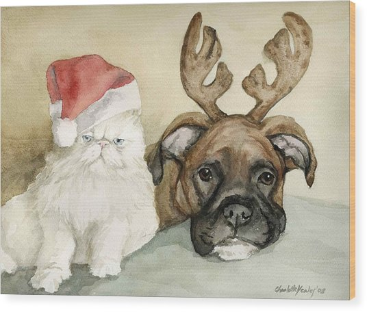 Boxer And Persian Cat Christmas Wood Print