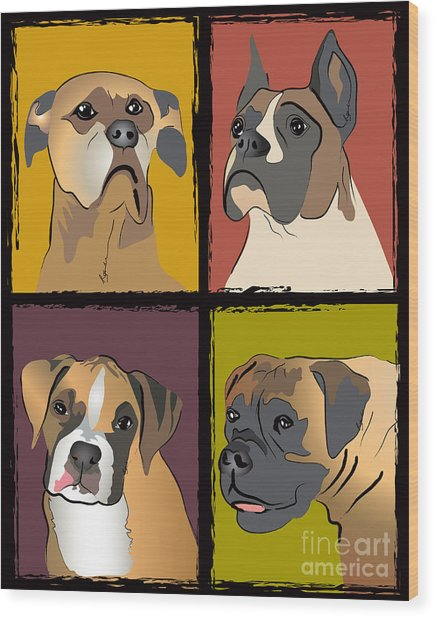 Boxer Dog Portraits Wood Print