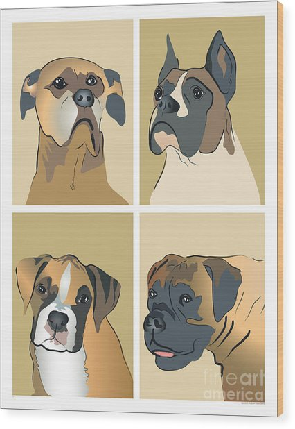 Boxer Dogs 4 Up Wood Print