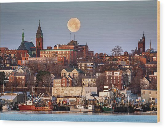 Boxing Day Moon Over Portland Maine  Wood Print