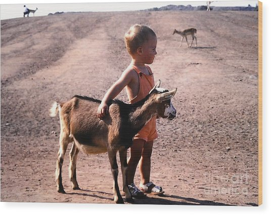 Boy And A Goat Wood Print