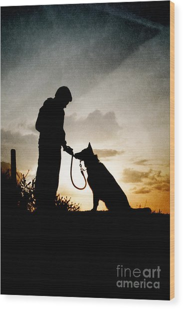 Boy And His Dog Wood Print