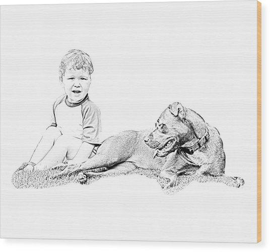 Boy And His Dog Wood Print by Ralph  Perdomo
