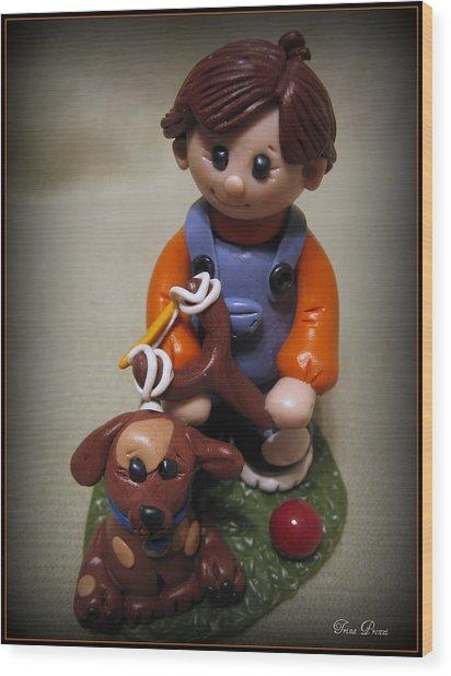 Boy And His Dog Wood Print by Trina Prenzi