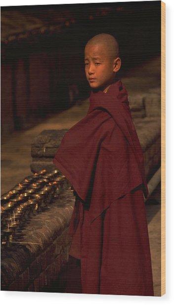 Boy Buddhist In Bodh Gaya Wood Print
