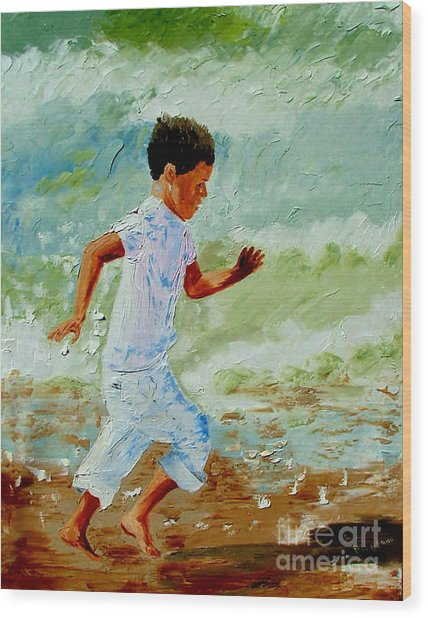 Boy By The Sea Wood Print by Inna Montano