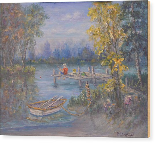 Boy Fishing On Dock And Boat On Lake Wood Print