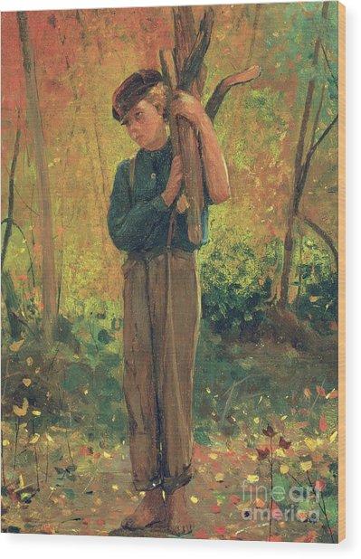 Boy Holding Logs Wood Print