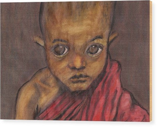 Boy In Burma Wood Print by Jean Haynes