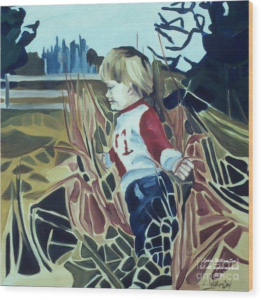 Boy In Grassy Field Wood Print