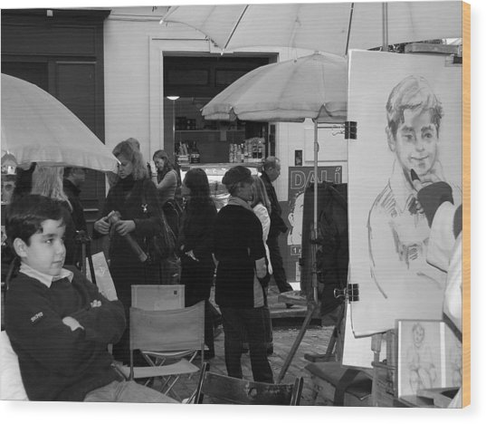 Boy In Montmartre Wood Print by Diane Height