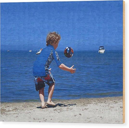 Boy On The Beach Wood Print by Deborah Selib-Haig DMacq