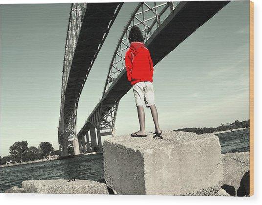 Boy Under Bridge Wood Print