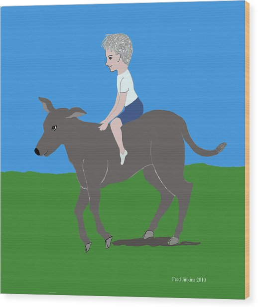 Boy With Calf Wood Print by Fred Jinkins