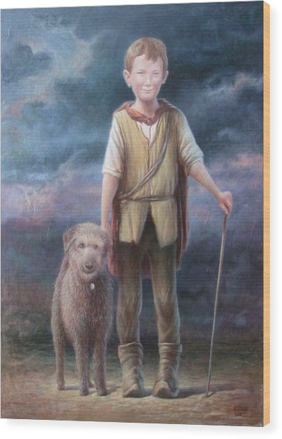 Boy With Dog Wood Print