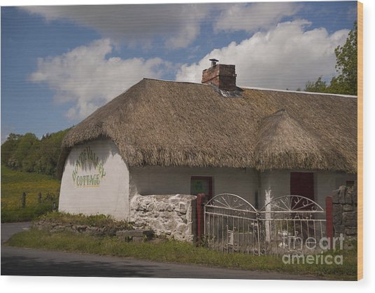 Boyne Valley Cottage Wood Print by Philippe Boite