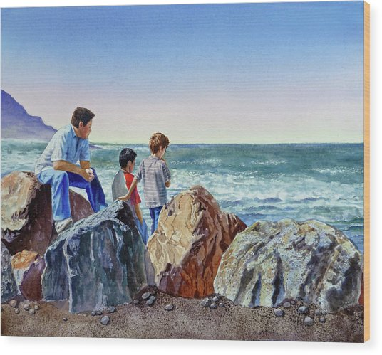 Boys And The Ocean Wood Print