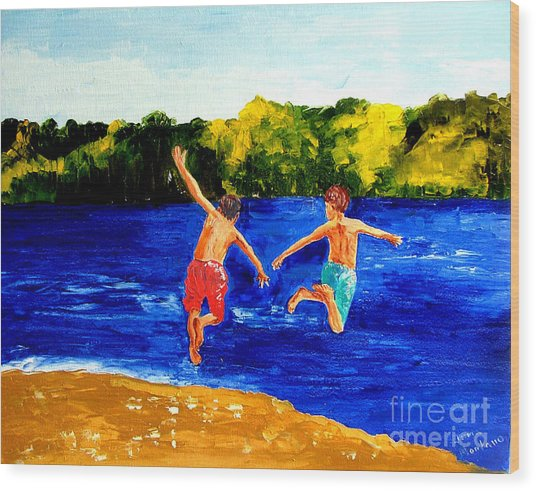 Boys By The River Wood Print by Inna Montano