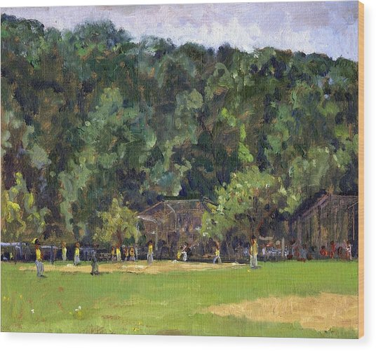 Boys Of Summer Baseball In Inwood Nyc 8x10 Original Plein Air Impressionist Fine Art Wood Print