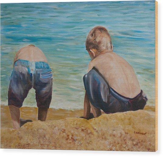Boys On A Beach Wood Print
