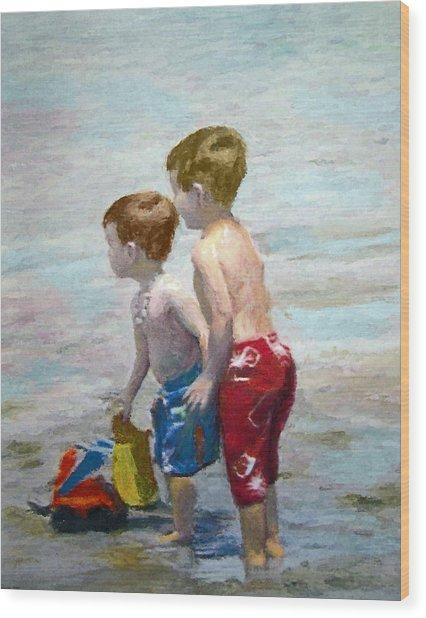 Boys On The Beach Wood Print