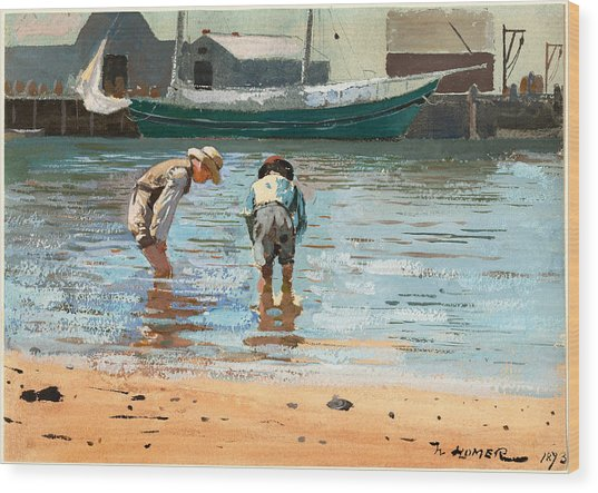 Boys Wading Wood Print