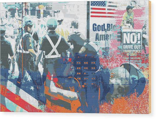 Boston Police Busted Wood Print by Shay Culligan