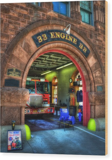Boston Fire Dept - Engine 33 Ladder 15 Wood Print