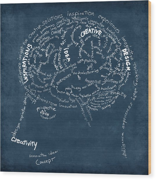 Brain Drawing On Chalkboard Wood Print