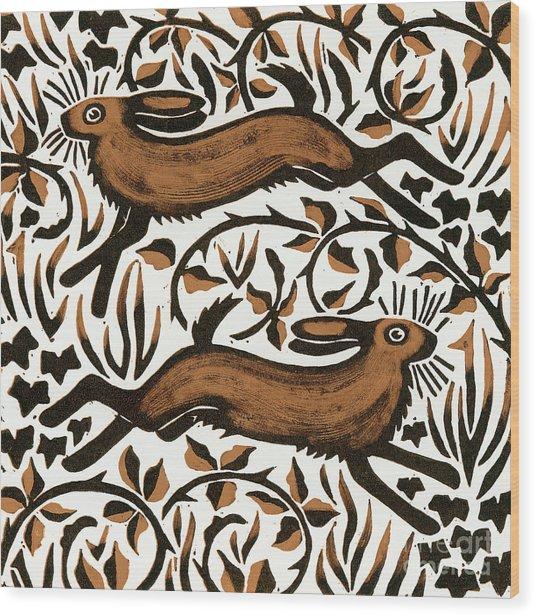Bramble Hares Wood Print